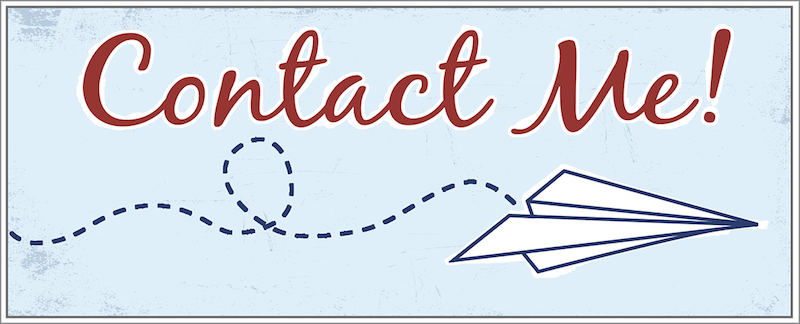 "Banner reading ""contact me"" with a letter being sent as a paper airplane drawn underneath"