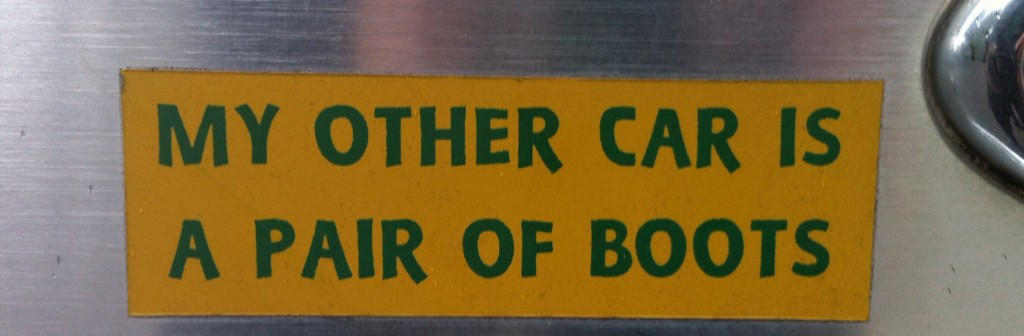 Bumper Sticker about Boots