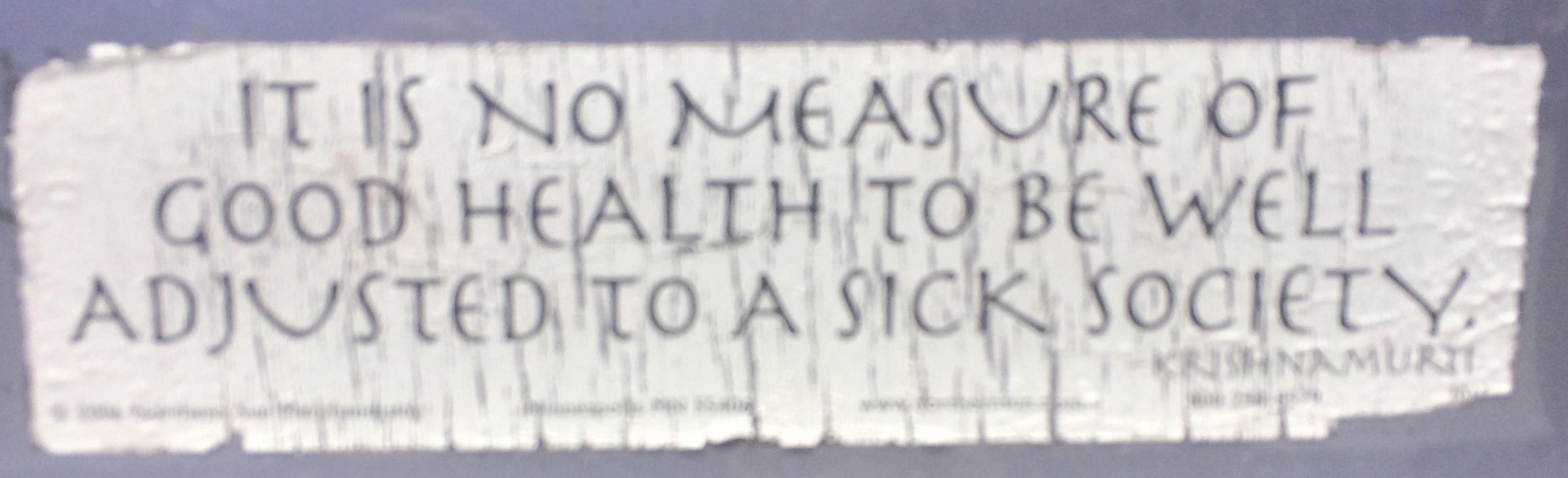 Bumper Sticker Sick Society