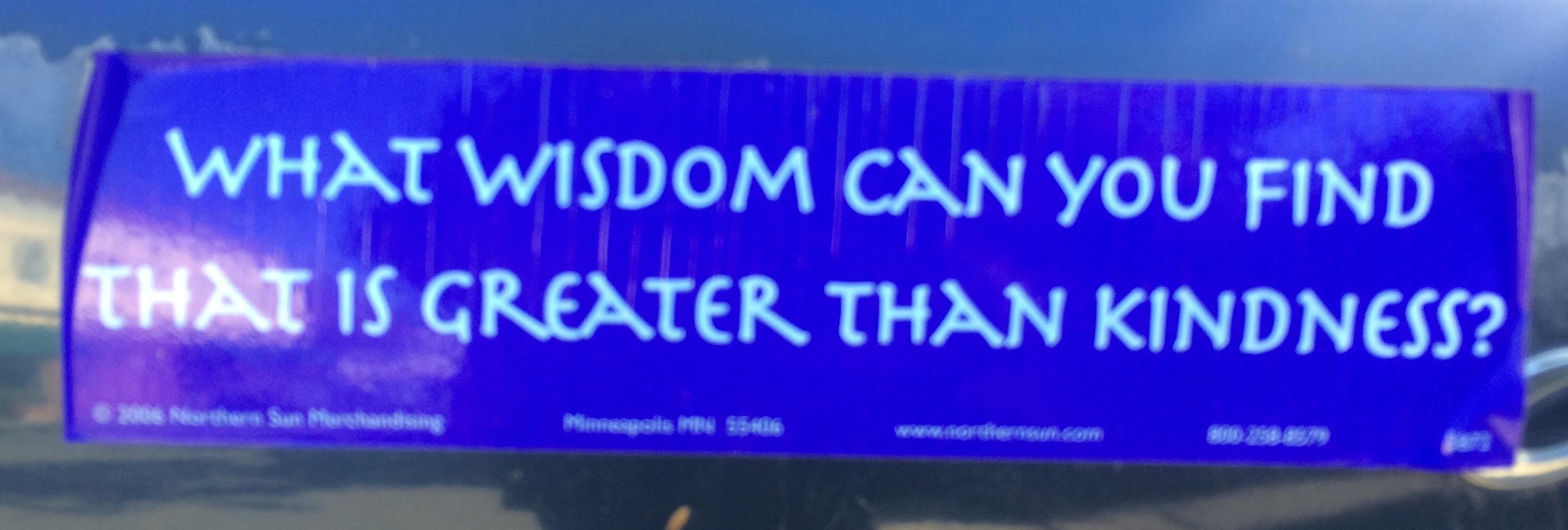 Bumper Sticker : wisdom & kindness