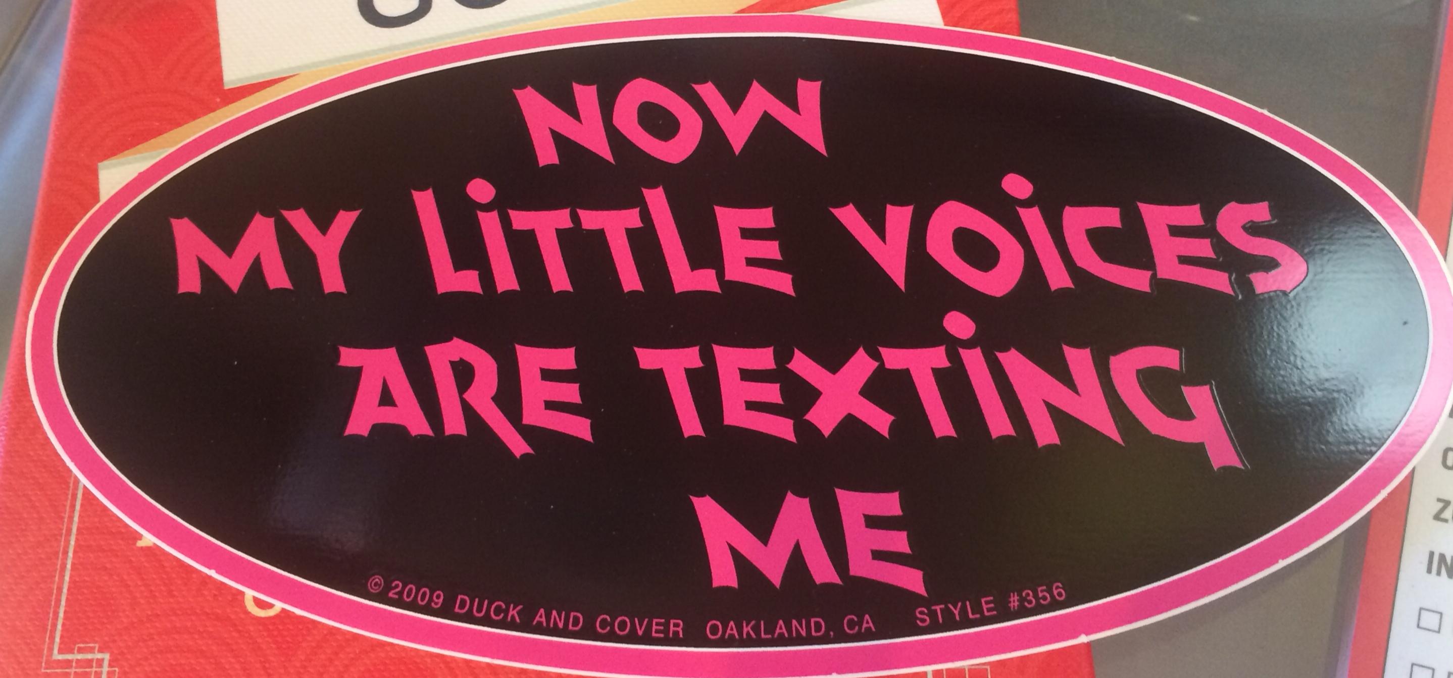 Bumper Sticker Little text voices