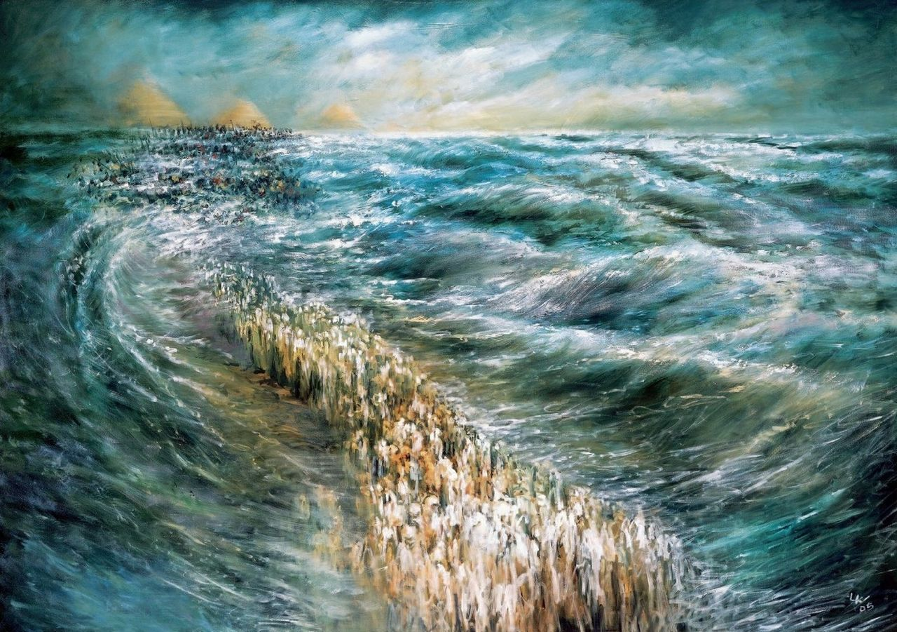 Dr. Lidia Kozenitzky, Painting of the Splitting of the Red Sea (2009)